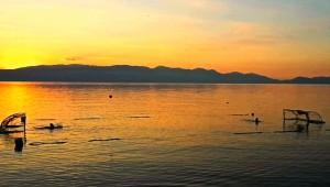 Sunset on the water polo goals in Ohrid